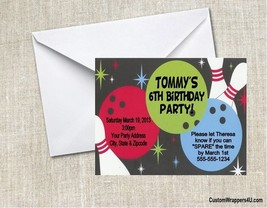 Bowl Bowling Pins Birthday Party Invitations Personalized Custom - $0.99+