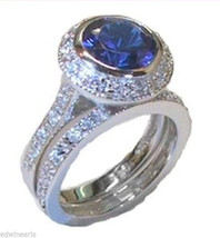 Women's Blue Sapphire CZ Wedding Ring Set Sterling Silver - $27.99