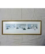 "3 Panel Winter Scene Watercolor ""Neighbors"", J Richard SECOR, Maine Artist - $144.93"