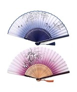 Sunnyac Hand Folding Fan, Japanese Bamboo, Fabric Handheld Fans in Delicate Box, - £12.55 GBP