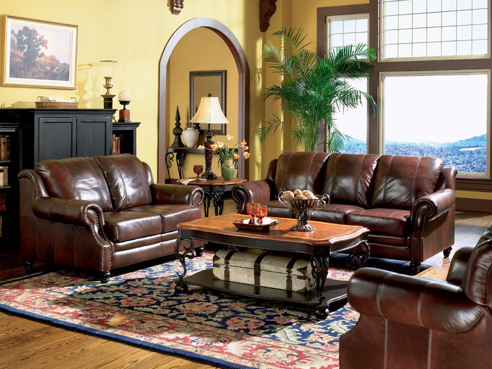 appealing traditional leather living room set | EMPIRE - Traditional Living Room Furniture Brown Leather ...