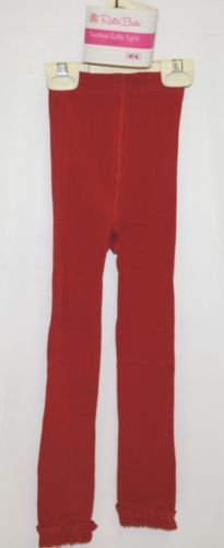 RuffleButts RLKRD4T0000 Red Ruffle Footless Tights Size 4T to 6