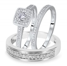 14k White Gold Finish 925 Silver Round Diamond His Her Engagement Ring Trio Set - $128.13