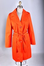 michael kors MK Buttons Trench Coat  raincoat bright orange NWOT size L - $108.90