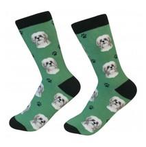 Shih Tzu Socks Unisex Tan White Shih Tzu Dog Cotton/Poly One size fits most - $11.99