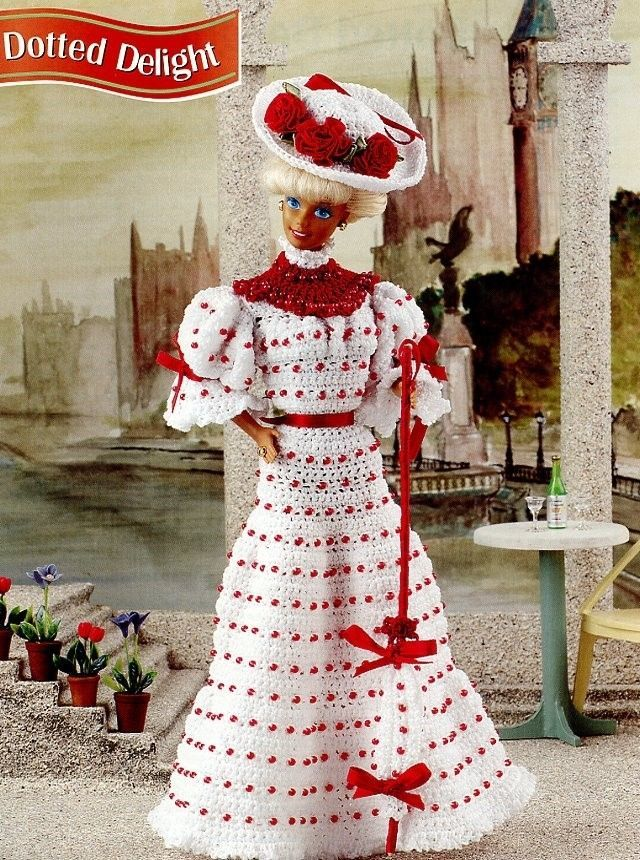 Dotted Delight Dress fits Barbie Doll Annie's Crochet PATTERN/Instructions NEW