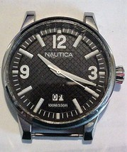 Nautica 100M/330FT Men's Large Black Face Watch Working - $25.95