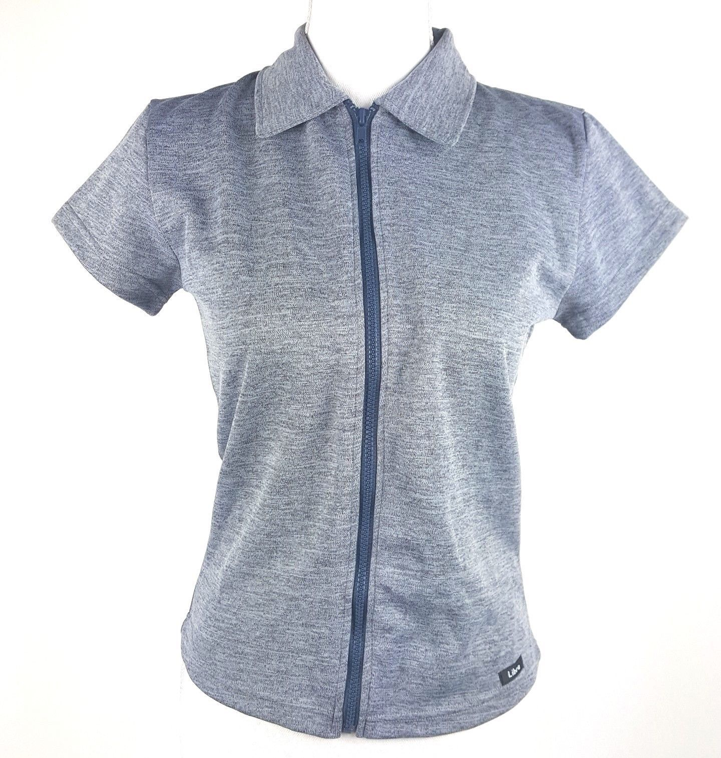 Libra Women Juniors Sz Large Grey Short Sleeve Zip Up Collar Neck Blouse Zodiac