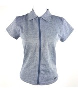 Libra Women Juniors Sz Large Grey Short Sleeve Zip Up Collar Neck Blouse... - $4.99