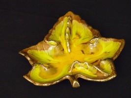 Vtg 60-70's California Art Pottery Ashtray Cal. Orig 865 Leaf Orange Yel... - $27.86