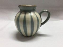 Cream Striped Miniature Pottery Jug Creamer Vintage Marked To Base - $8.42