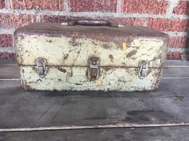 Very Rusty Vintage Metal 15 inch Tool Box Missing Tray Latches work grea... - $28.05