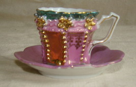 Antique Demitasse Footed Cup & Saucer Germany Gilt Relief Pink Mauve Lusterware - $15.00
