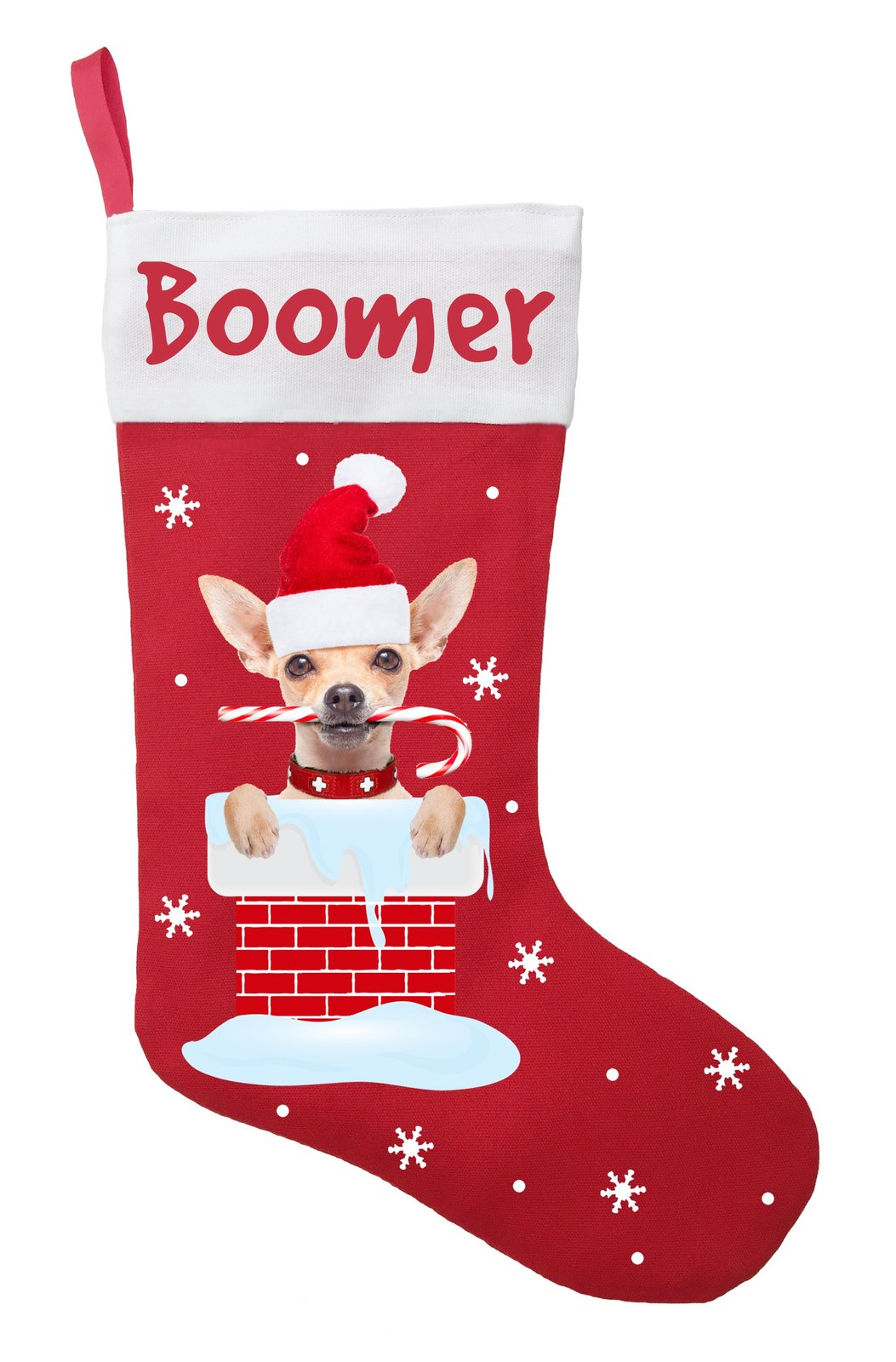 Chihuahua Christmas Stocking - Personalized Chihuahua Stocking - Red
