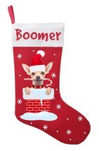 Chihuahua Christmas Stocking - Personalized Chihuahua Stocking - Red - $29.99