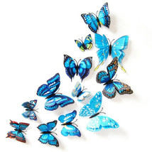 Double Butterfly Wall Stickers Home Party Decoration Blue 3D Dimensional... - $9.09