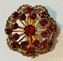 """Vintage Red Rhinestone Floral Design Pin/Brooch Small -1 1/2"""" - round - $9.50"""