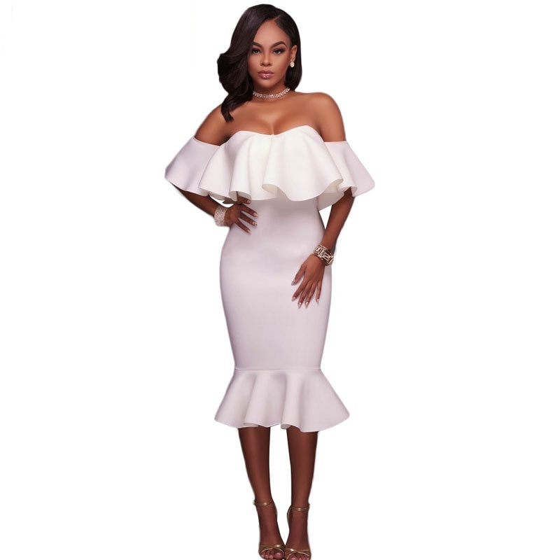 Off Shoulder Ruffle Midi Dress  at bling brides bouquet online bridal store