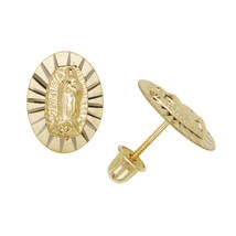 Virgin Mary Our Lady Of Guadalupe Child Stud Earrings Screw Back 14K Yel... - $98.99