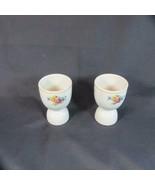 Pair Vintage Heavy Porcelain Large Egg Cups Marked U.S.A., Floral plus S... - $9.49