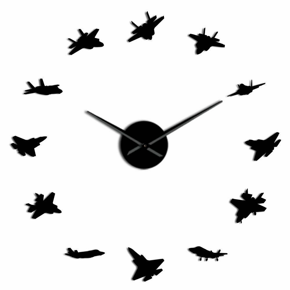 Primary image for 12 Military Aircrafts Kit Decoration 3D DIY Wall Clock Fighter Planes Jet Gift