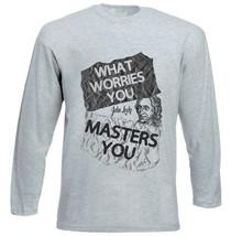 John Locke What Worries You Quote - New Cotton Grey Tshirt - $23.17