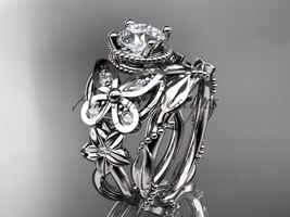 White gold butterfly engagement ring set, 14kt white gold diamond floral... - $1,900.00