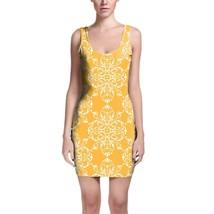 Yellow Retro Damask Bodycon Dress - $30.99+