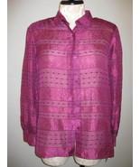Alfred Dunner Magenta Sheer Blouse Size 16 - $23.00