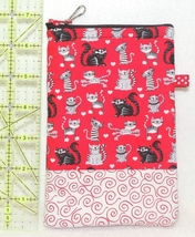 Zippered Cell Phone Case - Medium - Kitty Cats on Red - ZPC - $4.00