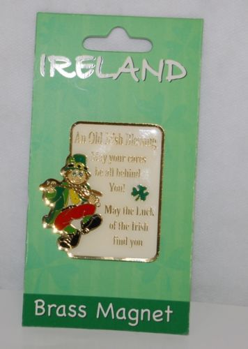 Allied Imports 4740 Brass Magnet An Old Irish Blessing Leprechaun