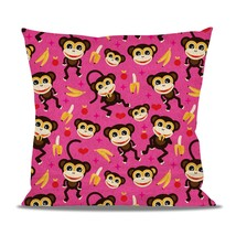Monkeys Go Bananas Pink Fleece Cushion - $24.99 - $41.99