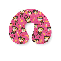 Monkeys Go Bananas Pink Travel Neck Pillow - $25.22 CAD