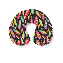 Tropical Feathers Tribal Travel Neck Pillow - $25.22 CAD