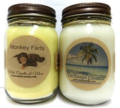 Monkey Farts & Caribbean Coconut - Set of Two 16oz Country Jar All Natur... - $26.99