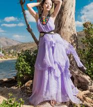 Women Chiffon Halter Front Cross Purple Color Bohemian Beach Strapless D... - $32.50
