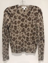 Ann Taylor LOFT MEDIUM Leopard Animal Print Cardigan Sweater 100% Merino... - $19.80