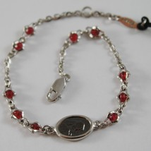 925 SILVER BRACELET WITH RUBY AND VIRGIN MARY MEDAL BY ZANCAN MADE IN ITALY