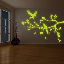 """( 94"""" x 72"""" ) Glowing Vinyl Wall Decal Tree Branch Falling Leafs Birds, Flowe... - $380.15"""
