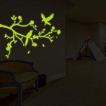 """( 63"""" x 48"""" ) Glowing Vinyl Wall Decal Tree Branch Falling Leafs Birds, Flowe... - $176.21"""