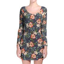 Hawaiian Dark Flowers Longsleeve Bodycon Dress - $36.99+