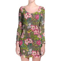 Tropical Vintage Florals Longsleeve Bodycon Dress - $36.99+