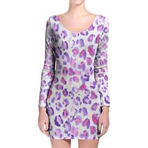 Purple Leopard Print Longsleeve Bodycon Dress - $36.99+