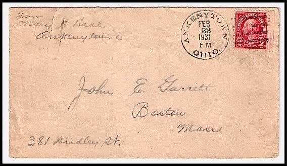 Primary image for 1931 Ankenytown, OH Discontinued/Defunct Post Office (DPO) Postal Cover