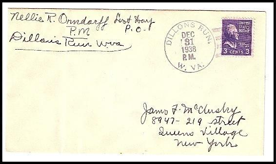 Primary image for 1938 Dillons Run, WV Discontinued/Defunct Post Office (DPO) Cover - Last Day