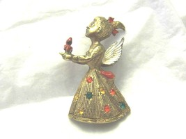 Sweet Angel Vintage Pin with Enamel Wings and Rhinestones Pin Candle Fig... - $12.29