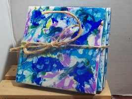 Rainbow Pop of Color Drink Coasters Candle holder table décor trivet set - $11.90