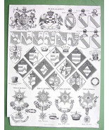 HERALDRY Orders Hatchments Arms Crests - 1816 Original Print Copperplate - $14.36
