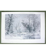 WIINTER SOLITUDE Fresh Snow River - VICTORIAN Era Print Engraving - $13.86