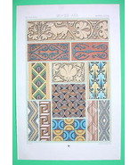 ORNAMENTS Painted Reliefs Middle Ages - COLOR Litho Print by Racinet - $17.82